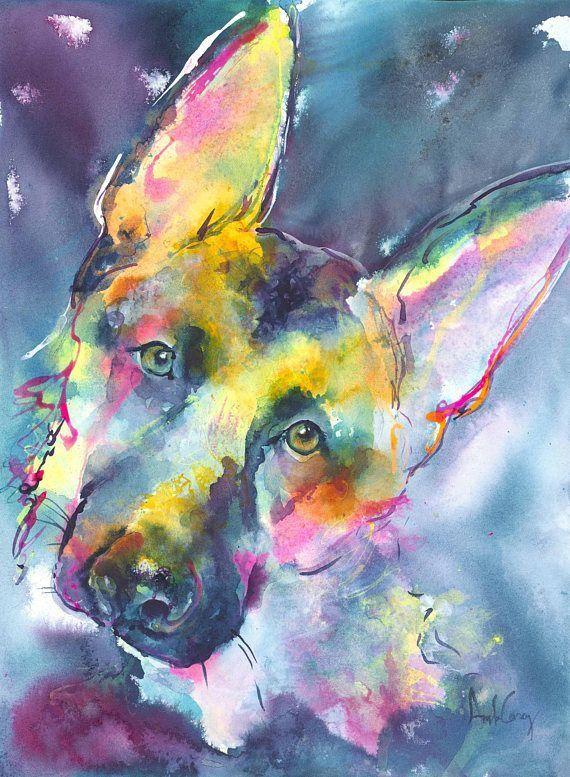 German Shepherd Dog Portrait/ German shepherd painting/dog ...