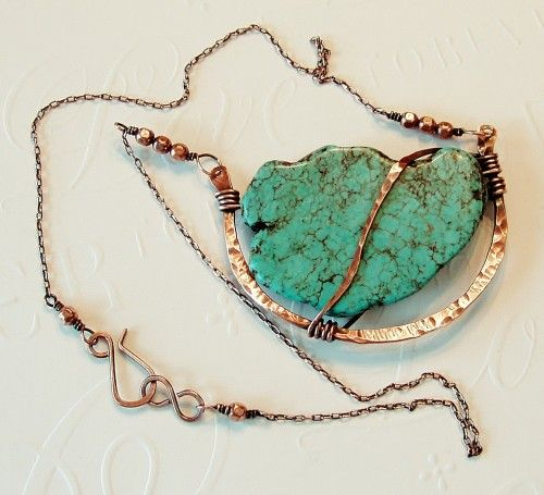 Chunky Turquoise in Hammered Oxidized Copper Necklace