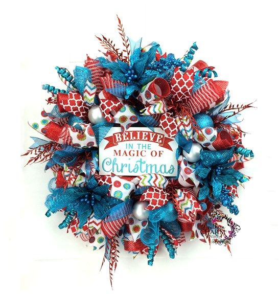 Red Turquoise Not Just For Holiday Decor: Retro Christmas Wreath In Red Turquoise White W Believe In