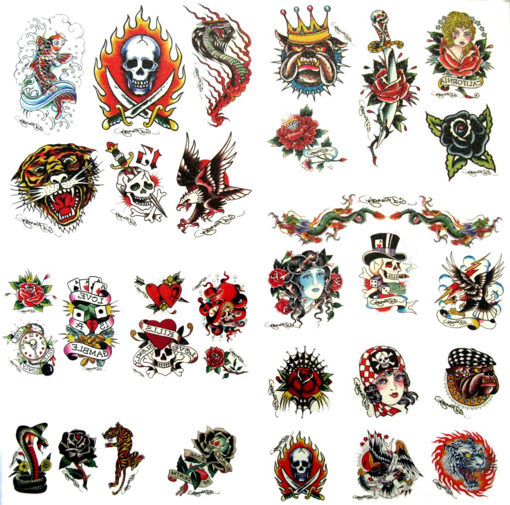 ed hardy genuine temporary tattoos d over 30 tattoos ebay tattoo ideas pinterest. Black Bedroom Furniture Sets. Home Design Ideas