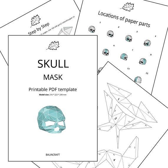 SKULL MASK. Low poly 3D papercraft mask. Printable DIY