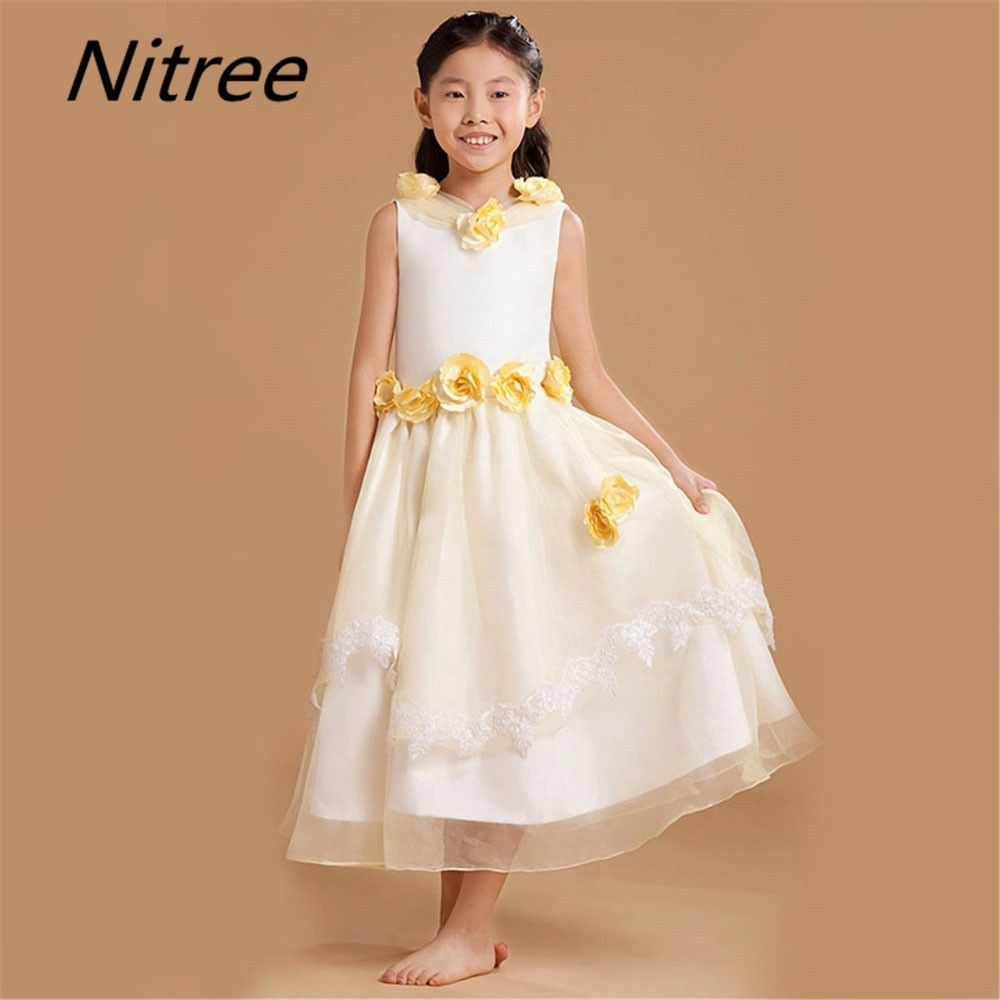 Click to buy ucuc pretty ankle length flower girl dresses custom