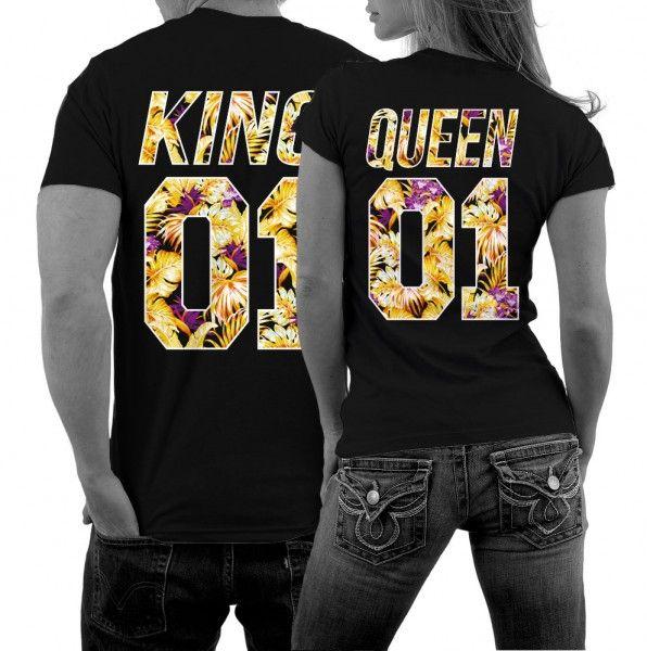 Partner-Shirts Set Damen Herren 2 Stück 1 Preis Pärchen Paar KING /& QUEEN