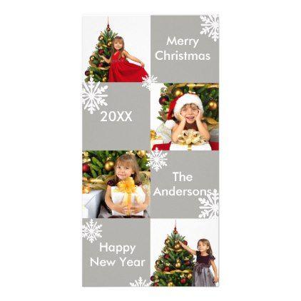 8 Squares Gray Snow - Christmas Photo Card | Christmas photo cards