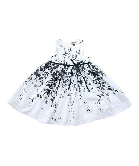 White Vine Flower A-Line Dress - Infant & Girls