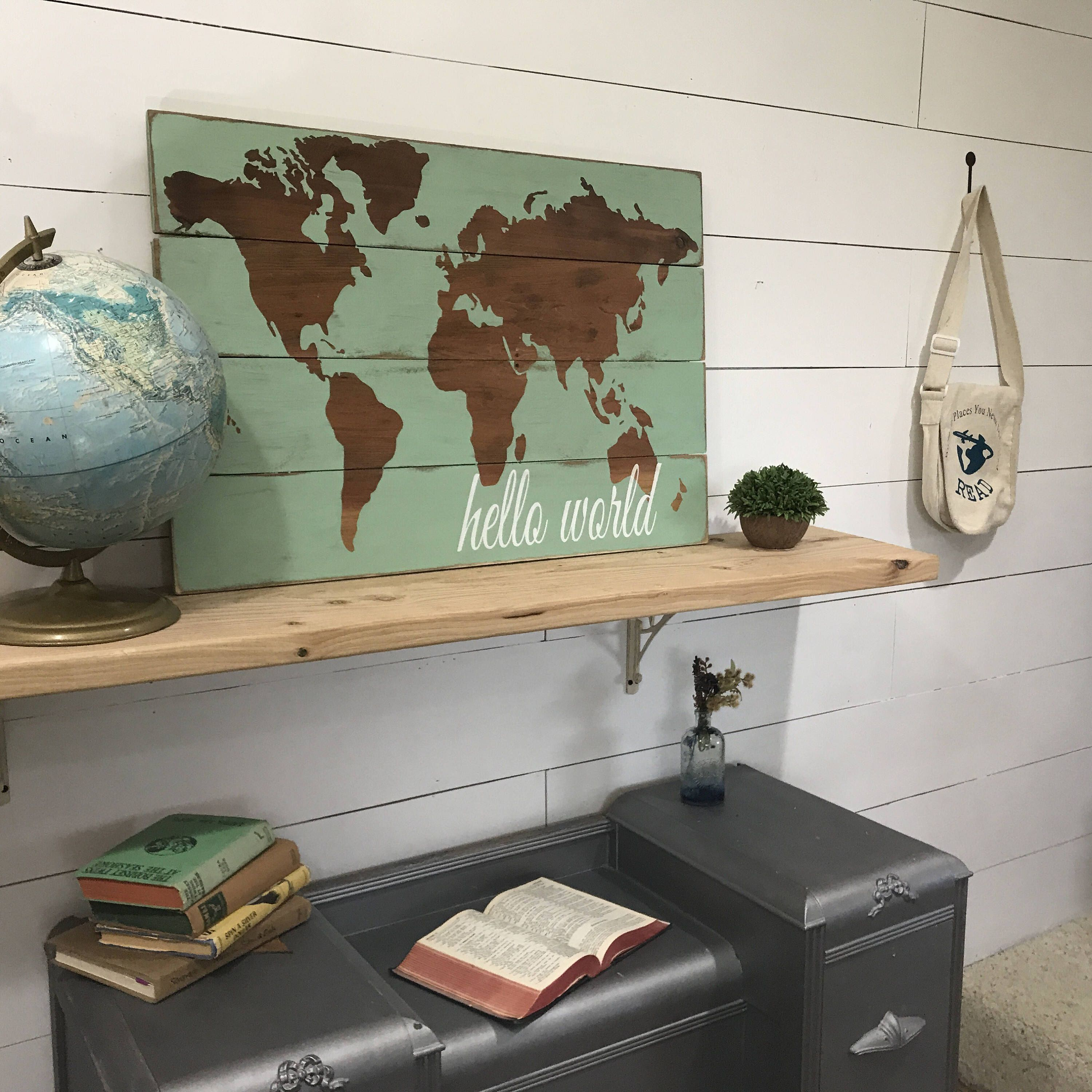 A personal favorite from my etsy shop httpsetsylisting hello world map world nursery decor baby room decor rustic wood map rustic world map wooden nursery map map wall hanging gumiabroncs Gallery