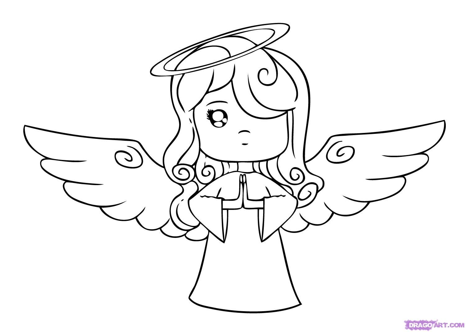 Barbie angel drawing drawings and angel for Cool drawings cartoon