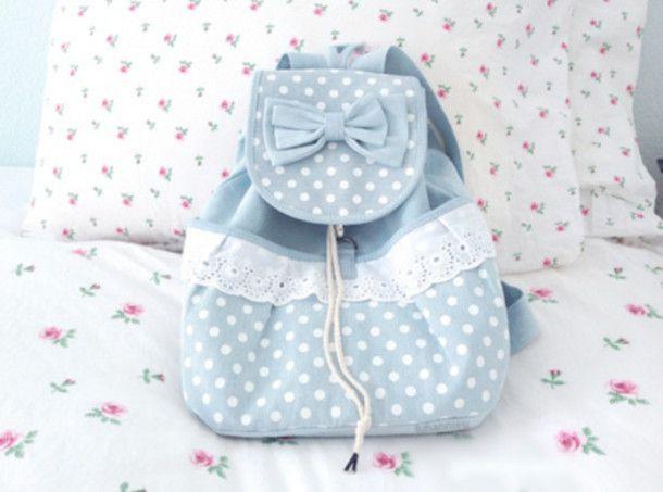 bag cute bag sweet backpack kawaii blue lace cute girly fashion ...