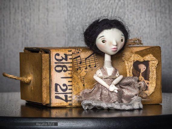 OOAK Art doll Alpha Chibi Joined doll Mixed media box by Poldiy