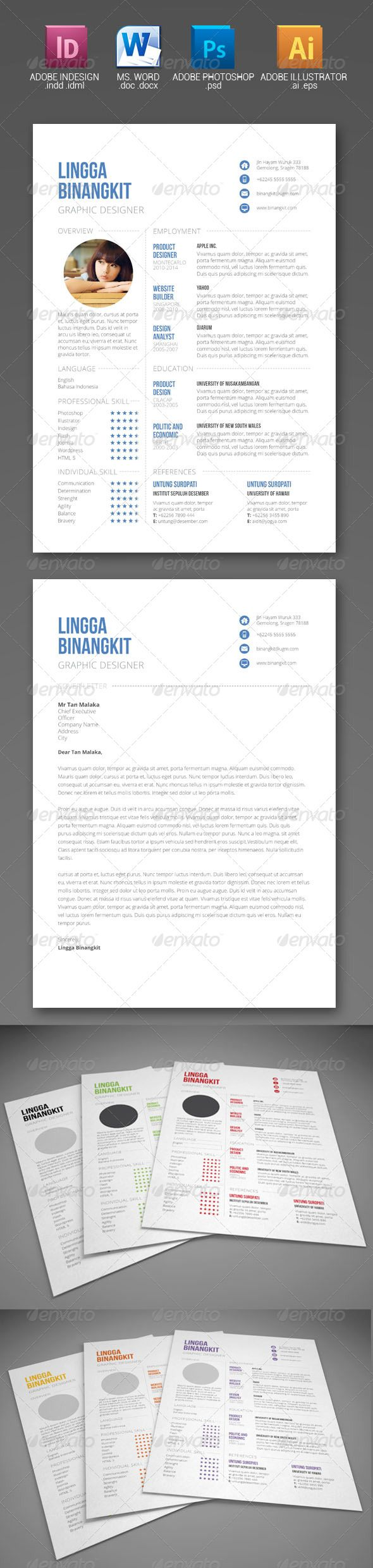 Sewon Clean Resume Template Volume 6 | Template, Cv template and Adobe