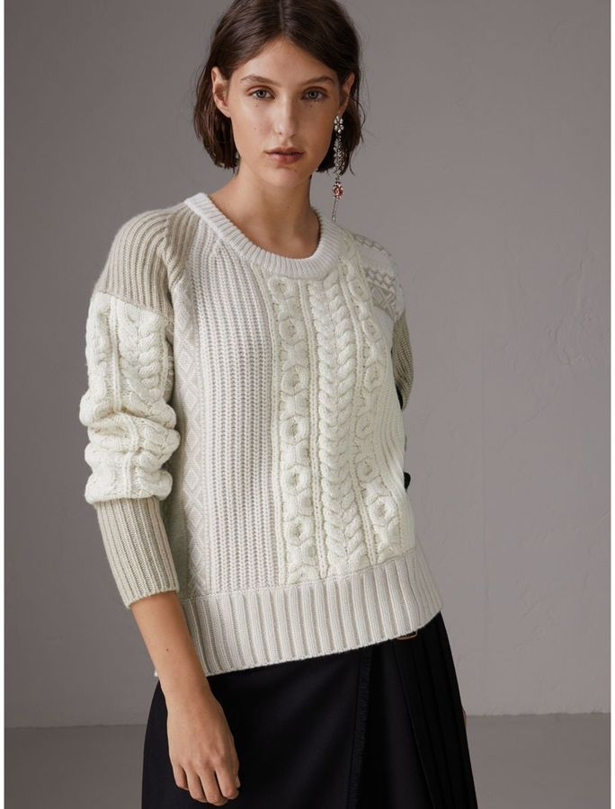 0530377ddfb8 Burberry Colour Block Fair Isle and Cable Knit Wool Cashmere Sweater ...