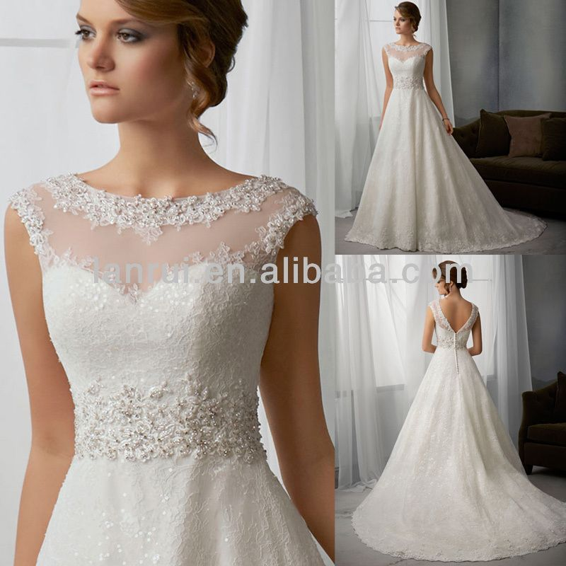Cap Sleeve Illusion High Neck Lace Overlay Satin And Organza Wedding Dress 2013 Photo Detailed About Cap Sleeve I Wedding Dresses Dresses Wedding Dresses Lace,Fall Second Marriage Wedding Dresses Color