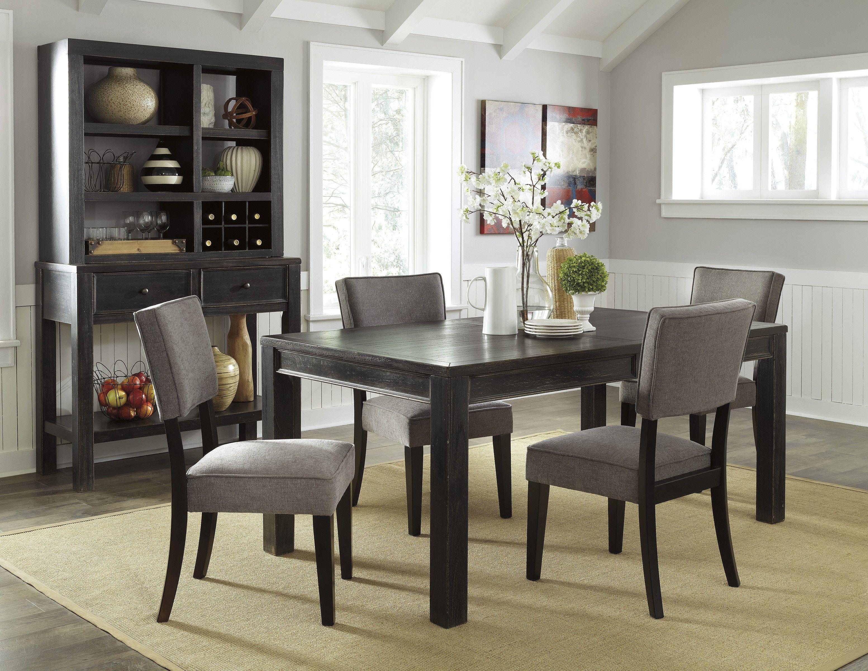 Gavelston Black 6 Piece Rectangular Dining Room Set With