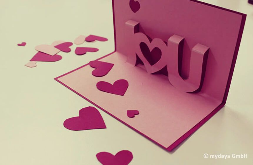 Süße Valentinstag Karte selber basteln - DIY | Rosa, Valentinstag ...