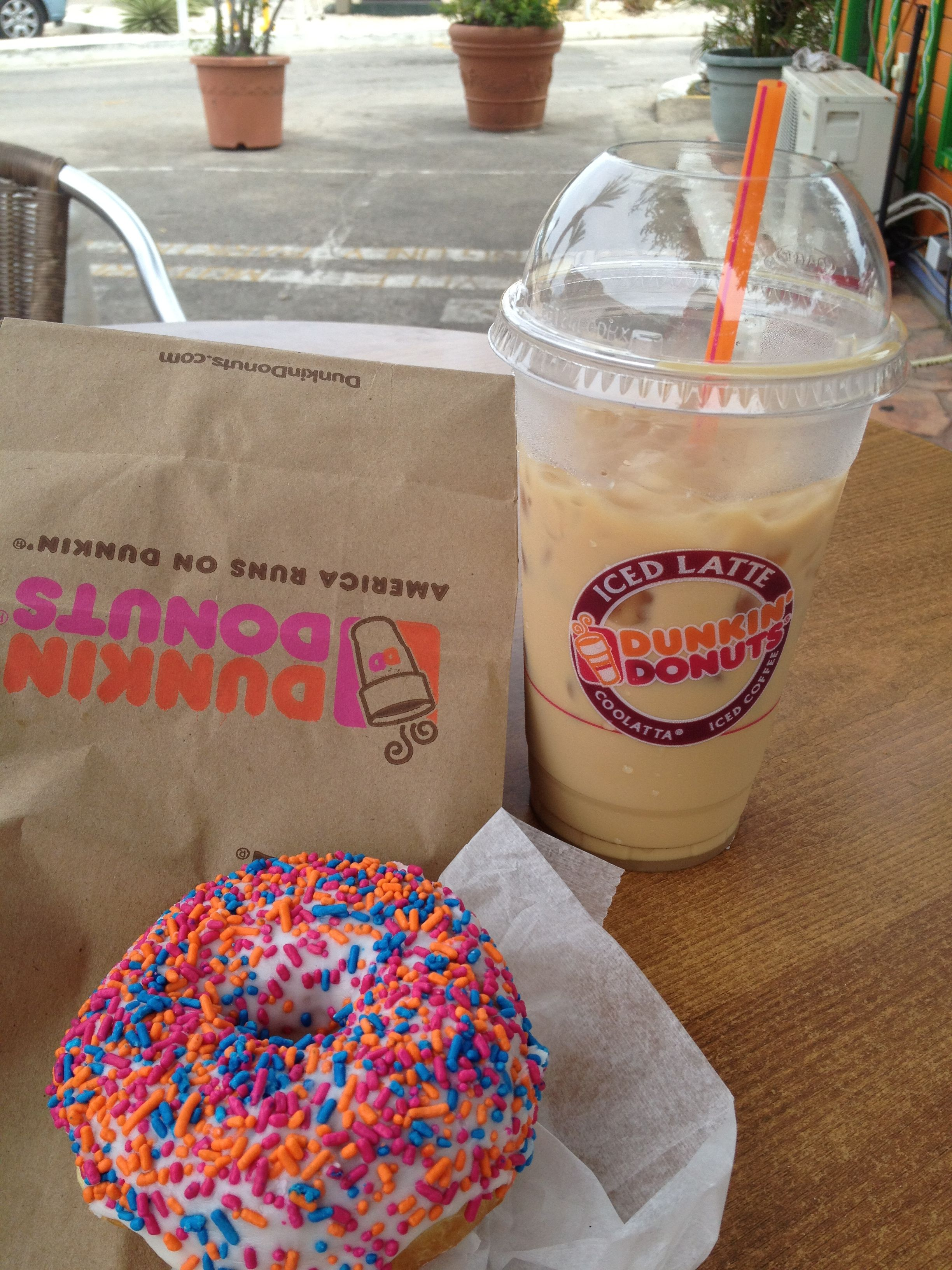 Dunkin donuts hazelnut flavored ice coffee and springle