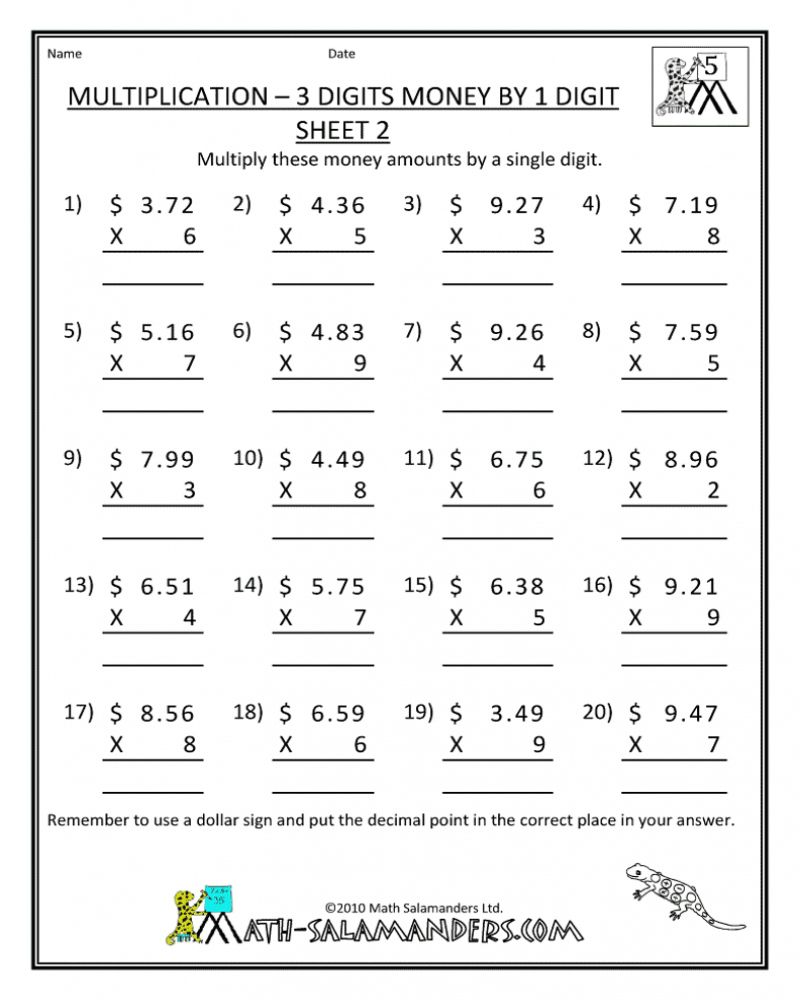 Free Printable mon Core Math Worksheets For 7th Grade