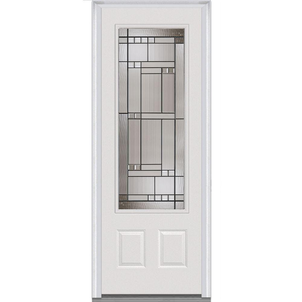 Milliken Millwork 36 In X 96 In Kensington Decorative Glass 3 4 Lite Painted Fiberglass Smooth Prehung Front Door Products Doors Steel Doors Prehung Doors