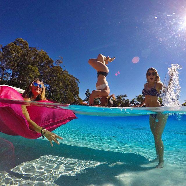 When @jamieanderson, @melissa_marquardt and @leticiabufoni throw a pool party down unda. #GoPro #SeeAustralia #GoProANZ