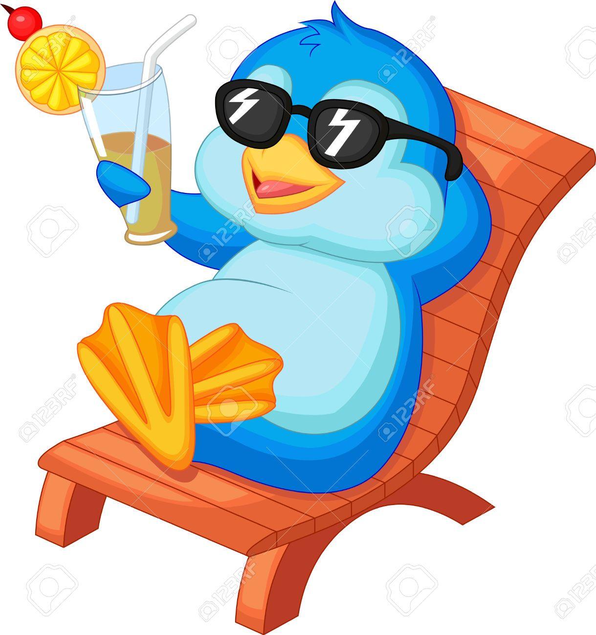 Summer beach scene vector stock vector colourbox - Stock Vector Of Vector Illustration Of Cute Penguin Cartoon Sitting On Beach Chair