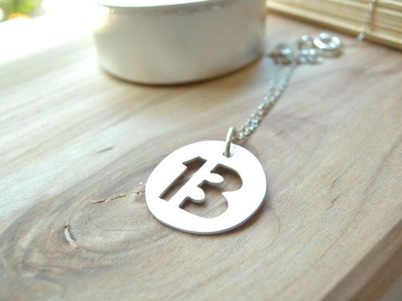 Lucky Number 13 Thirteen Silver Disc Necklace Personalized Sterling Silver Jewelry Personalized Sterling Silver Jewelry Lucky Number 13 Silver Jewelry Gifts