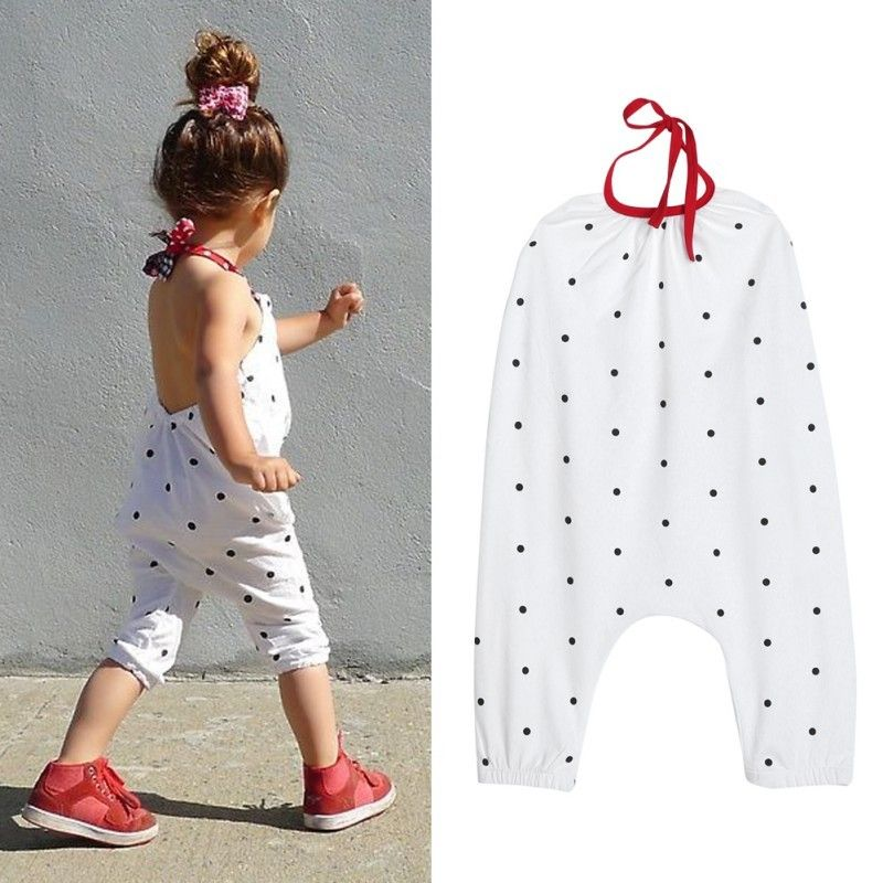 2017 Summer Children Girls Rompers Fashion Girl Halter Jumpsuit Kids White Cute Polka Dot Printed One Piece Suit - Kid Shop Global - Kids & Baby Shop Online - baby & kids clothing, toys for baby & kid -   15 DIY Clothes For Girls fashion ideas
