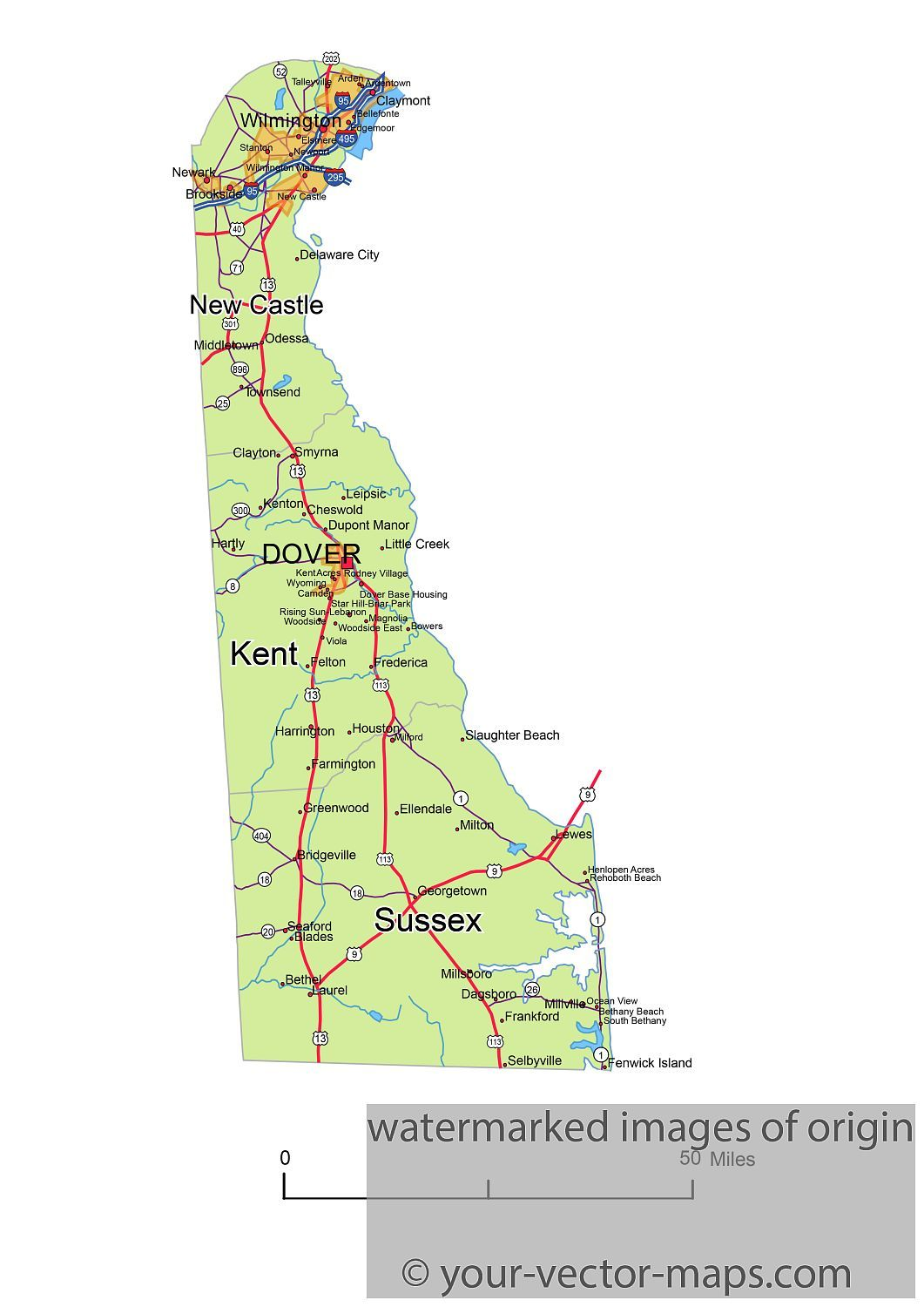 Delaware state route network map. Delaware highways map. Cities of on