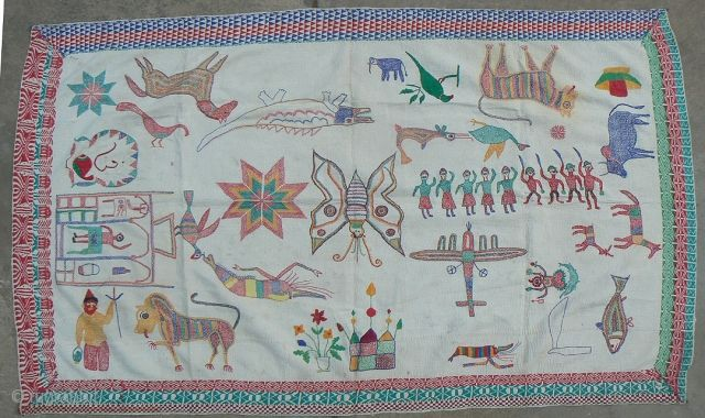 Old Indian Kantha Embroidery Quilt. Just in. From the West Bengal region of India. 62 x 38 inches. This kantha has it all – airplanes, tigers, shrimp, shiva, shiva lengha, peacocks, birds,  ...