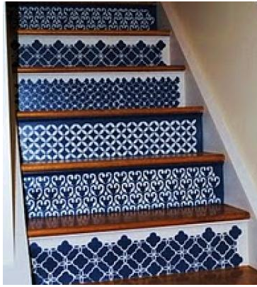 The Decorative Paintbrush Designs By Mary Mollica Moroccan Stenciled Stairs Find This Pin And More On Luna