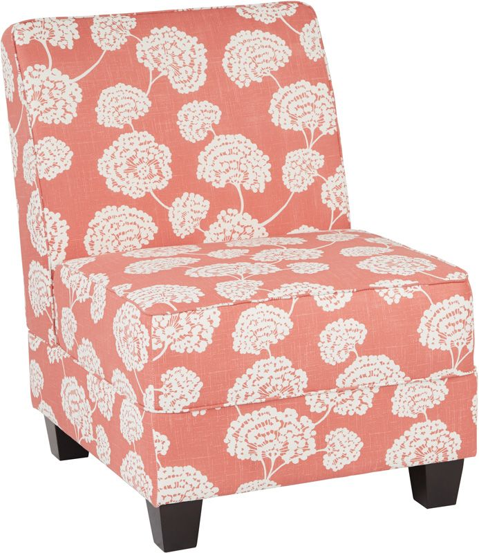 Ave Six Milan Chair in Toile Stems Coral Fabric with Dark Espresso Legs, MIL51N-R5 by Office Star Products | BizChair.com