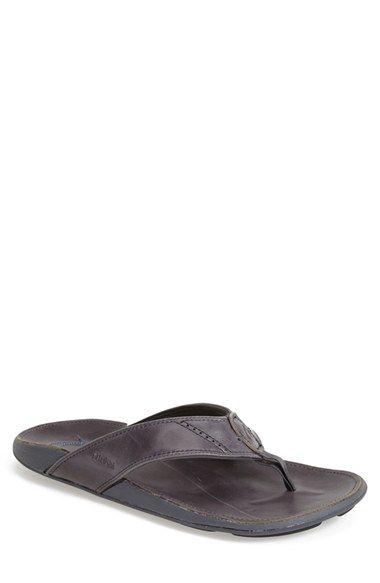 OluKai 'Nui' Leather Flip Flop (Men) | Nordstrom