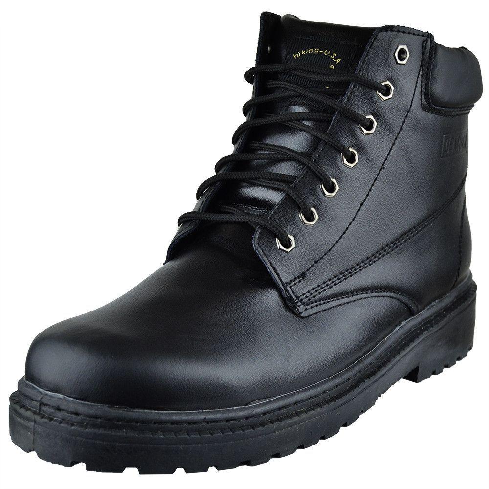 Mens Boots Lace Up Eyelet Napa Leather Hiking Shoes Black