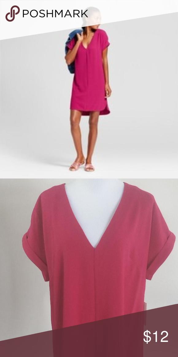 Womens Short Sleeve V-Neck Crepe Shirt New A New Day Women s Short Sleeve V-Neck  Crepe Shift Dress Dresses Mini f41449cf7