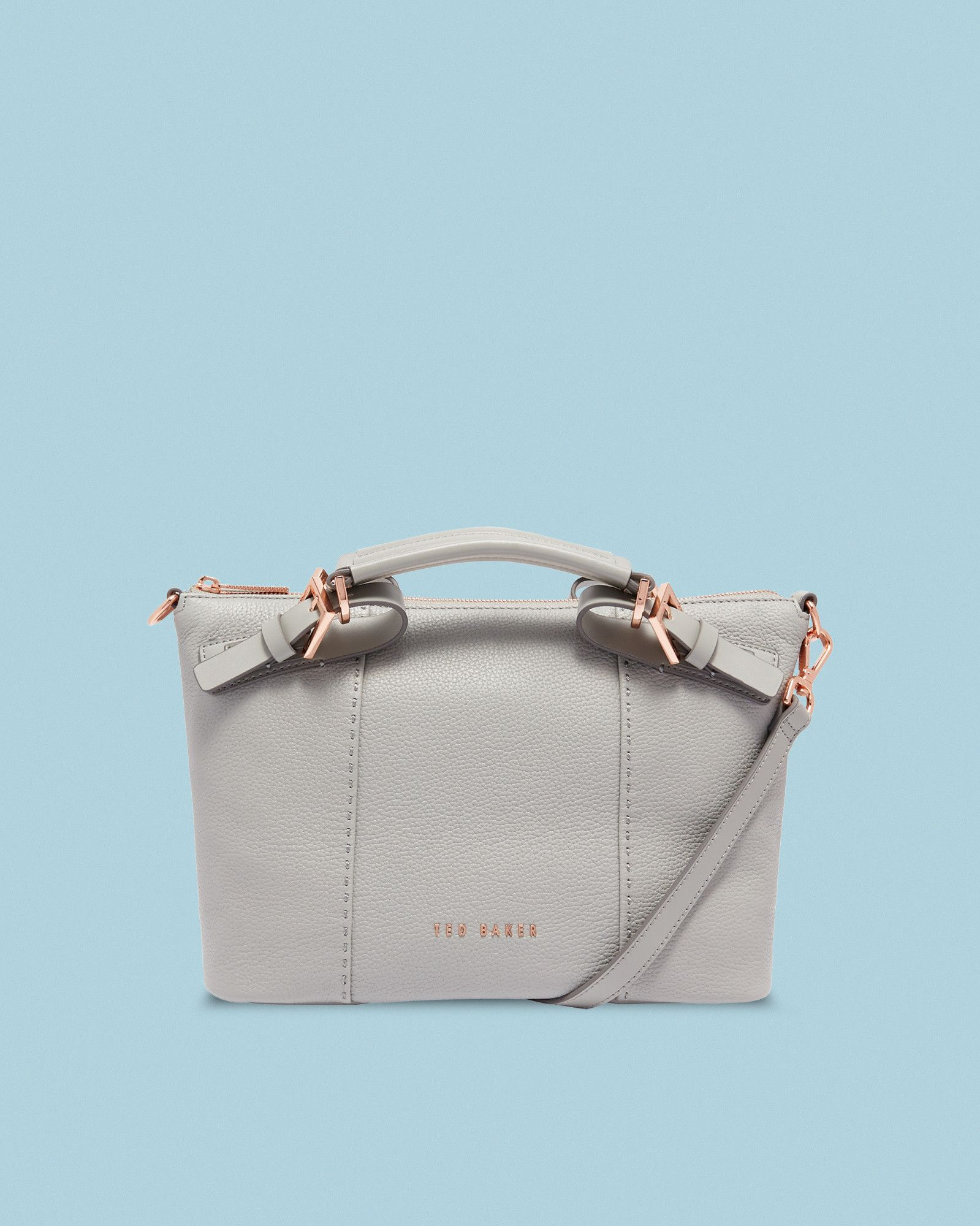 c01e1cd88b43 Ted Baker Bridle handle small leather tote bag Mid Grey