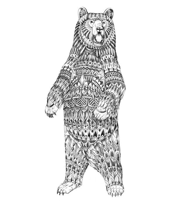 Ornate Grizzly Bear By Bioworkz Via Behance Bear Drawing