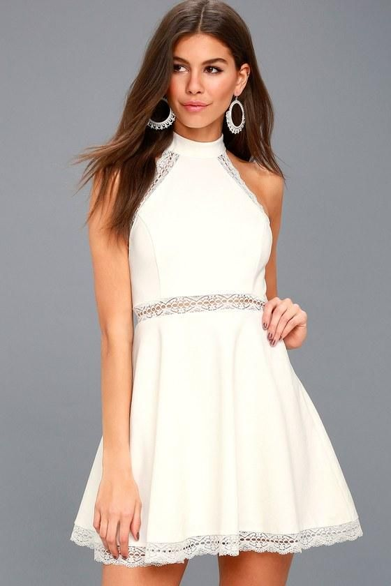 609496f71e Reach Out My Hand White Lace Skater Dress - Lulus