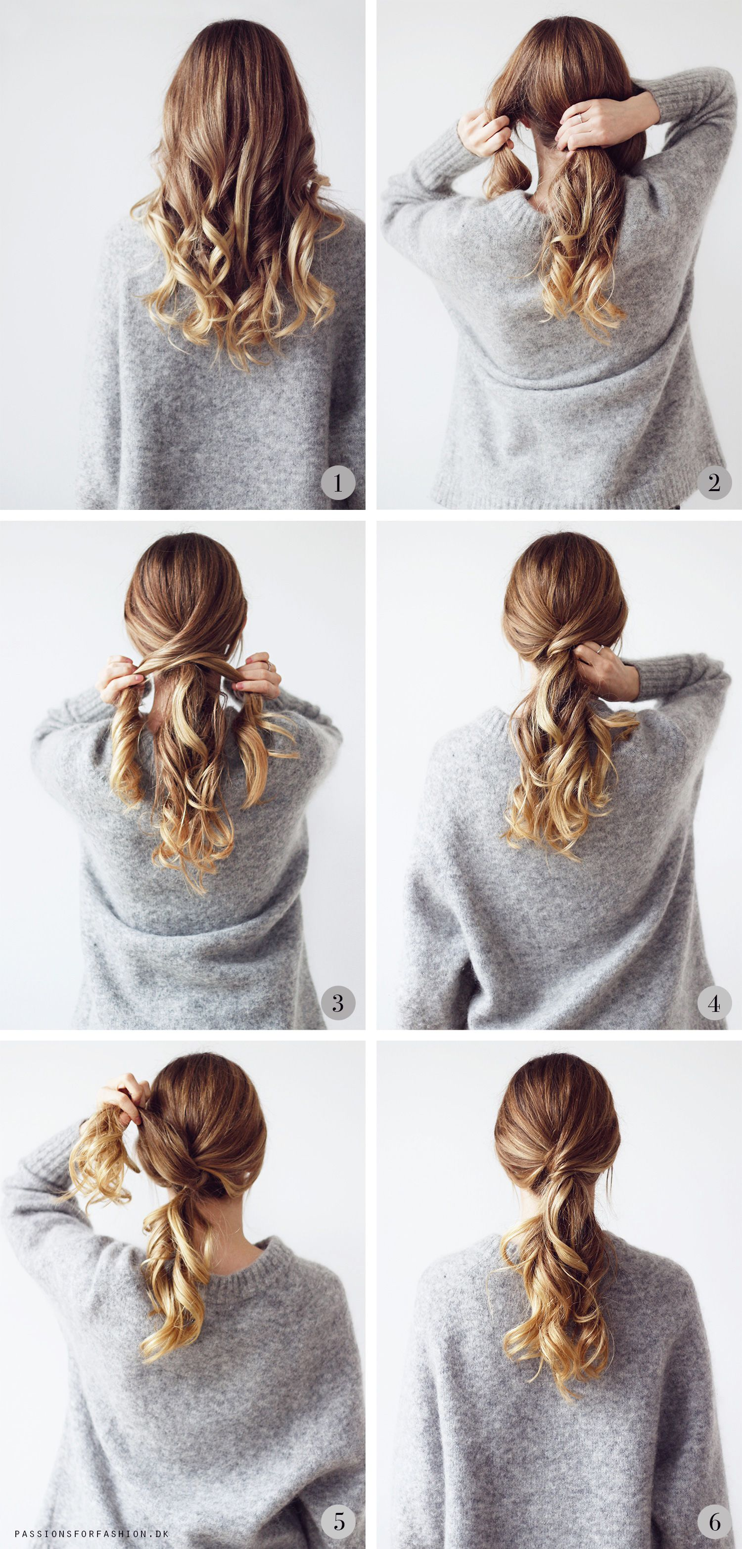 How To Do A Ponytail With Bobypins Only / Curly Hair