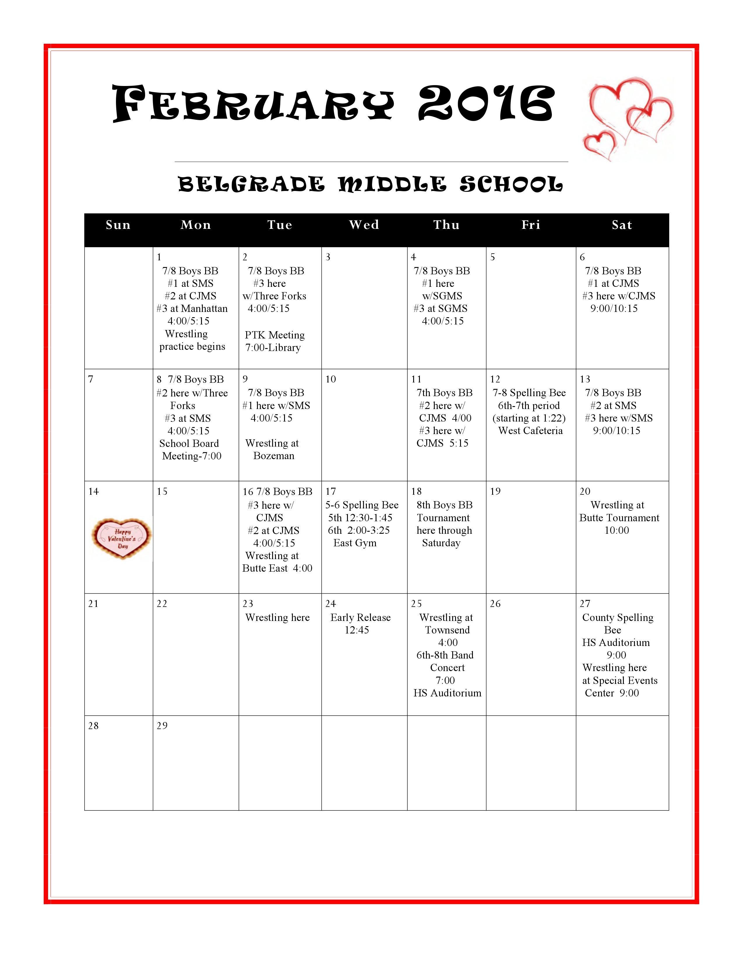 Middle School February Activity Calendar  Activity Calendars