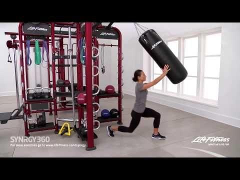 alternating front lunge bag press  no equipment workout