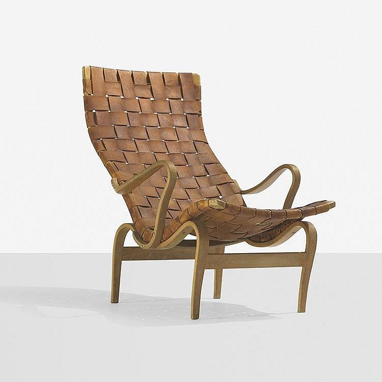 Bruno Mathsson Pernilla 2 chair  Karl Mathsson  Sweden, 1943  laminated steam-bent beech, leather  25.25 w x 39.25 d x 36 h inches  Signed with partial applied manufacturer's label to underside: [Bruno Mathsson Firma Karl Mathsson Made in Varnamo Sweden]