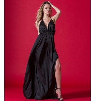 2d8a6f35c4b2 Μάξι Φόρεμα με Σκίσιμο και Ανοιχτή Πλάτη - Μαύρο