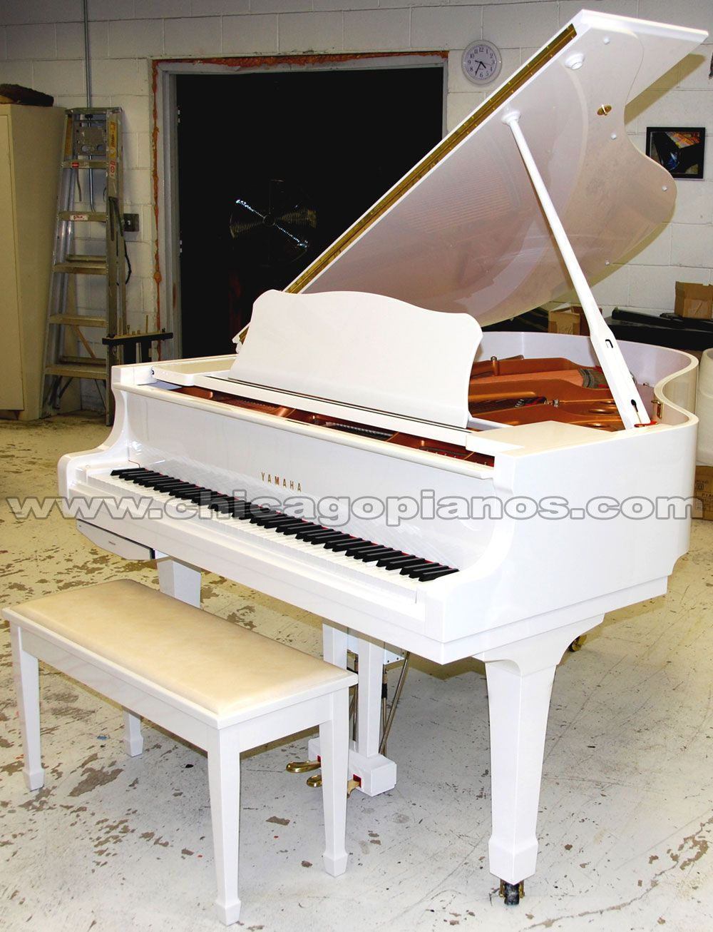 white yamaha baby grand piano for the living room