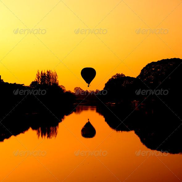 Hot Air Balloon at Sunrise on the river