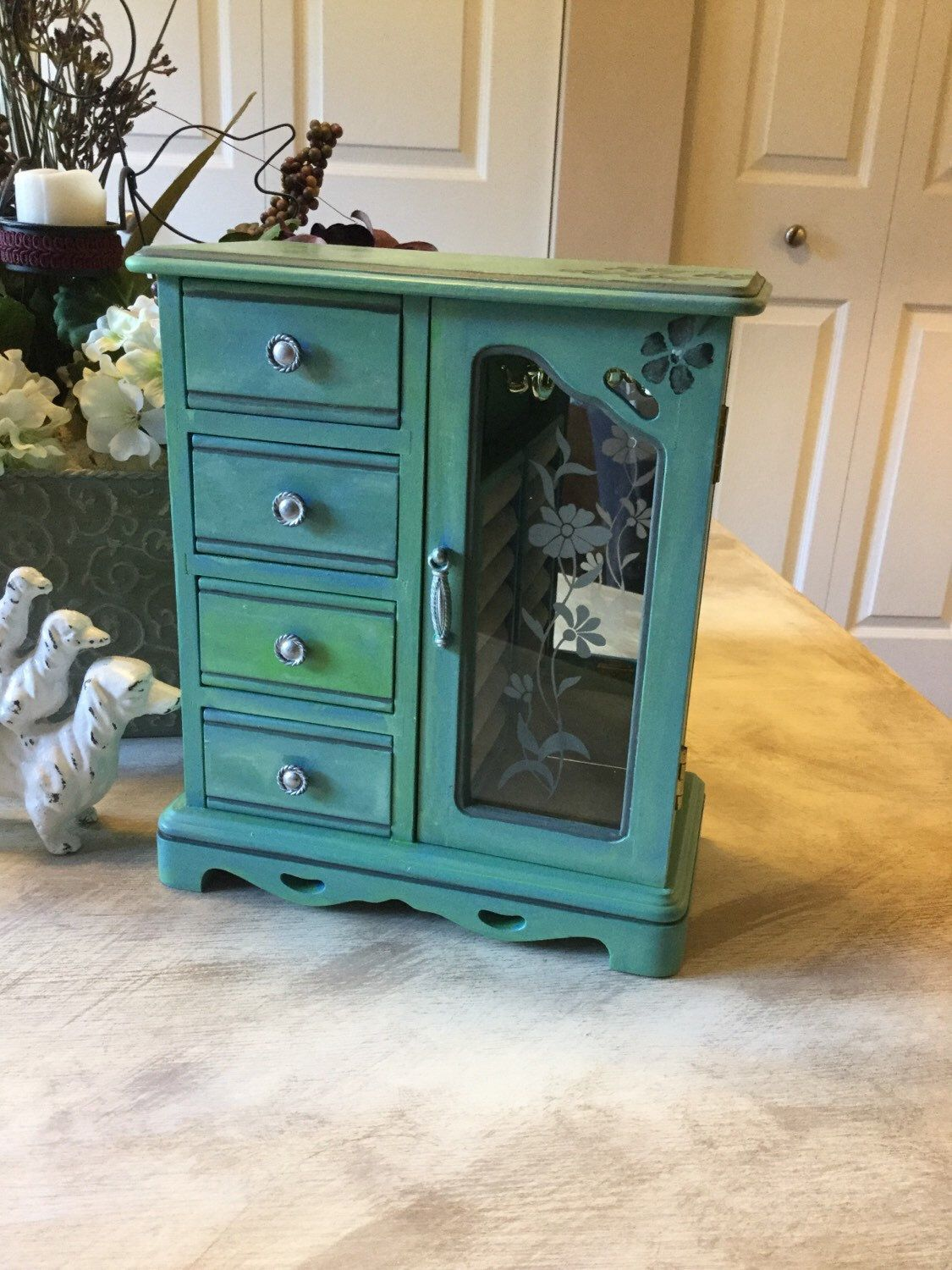 Upcycled Vintage Jewelry Box Hand Painted Wood Jewelry Organizer