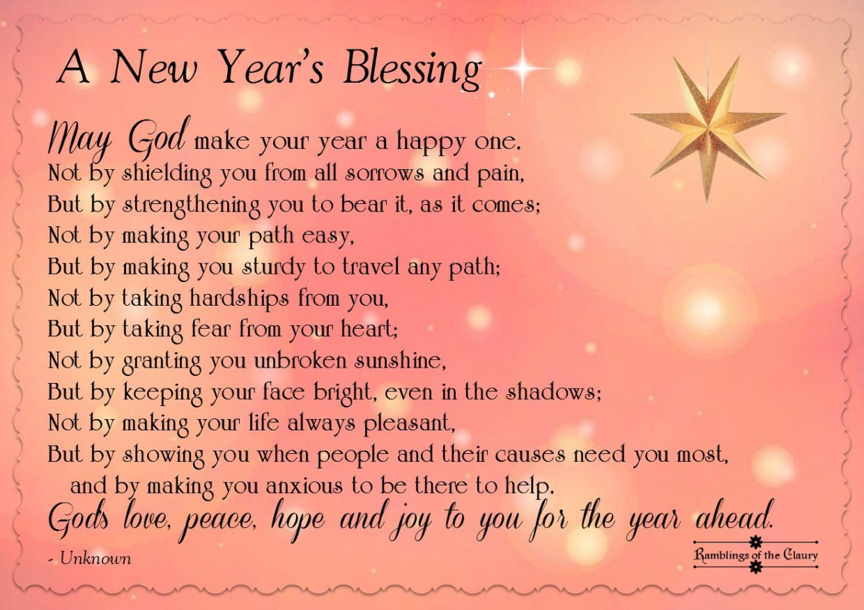 A Blessing For The New Year New years prayer, New year