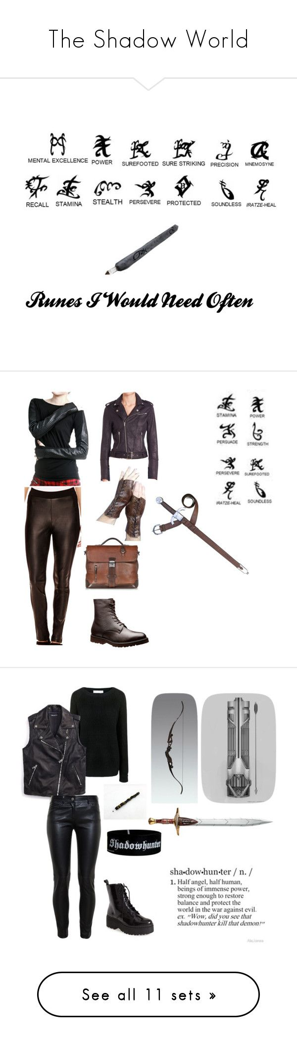 """The Shadow World"" by wolfschaffer ❤ liked on Polyvore featuring art, ShadowHunter, runes, Steele, Nicole By Nicole Miller, The Kooples, The Bridge, Leather, cassandraclare and MortalInstraments"