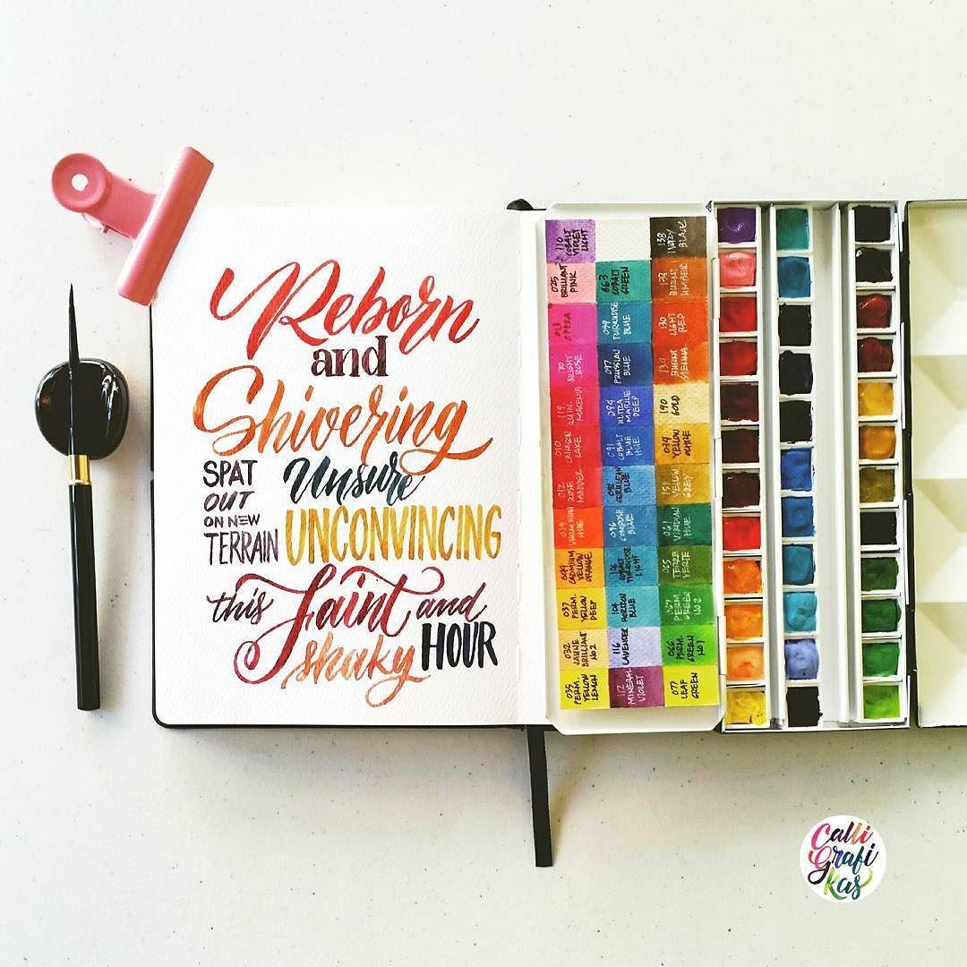 By calligrafikas: Some random lyrics #calligrafikas #grafikas #dreweuropeo #moderncalligraphy #lettering #handlettering #brushlettering #watercolor Paper: Monologue sketchbook A5 Paint: Holbein w/c Brush: Silver Brush Black Velvet round no 2