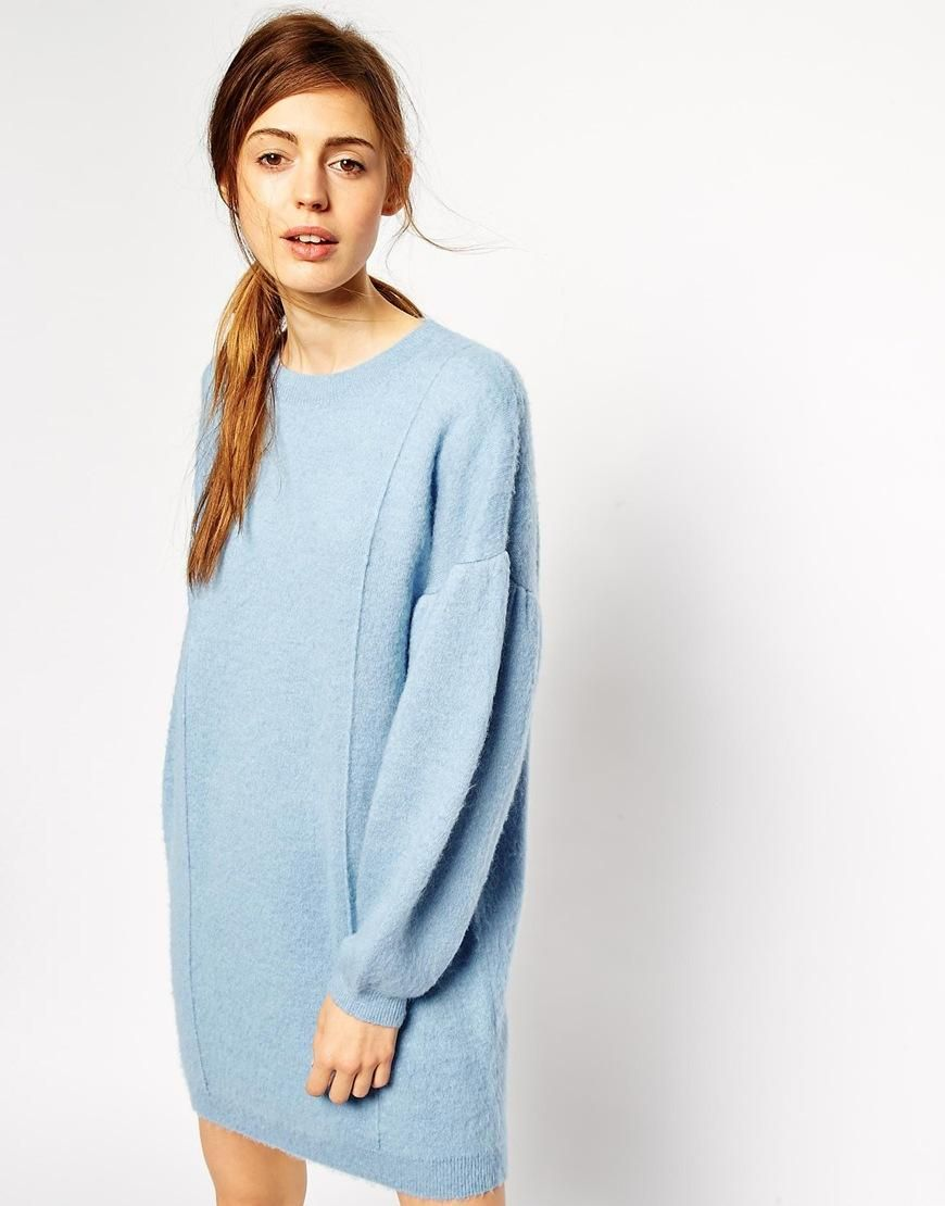 ASOS | ASOS Jumper Dress In Structured Knit With Balloon Sleeve at ASOS