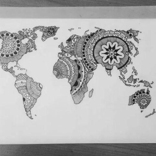 Mandala world rad tattoos pinterest mandala map tattoos and mandala world gumiabroncs Images