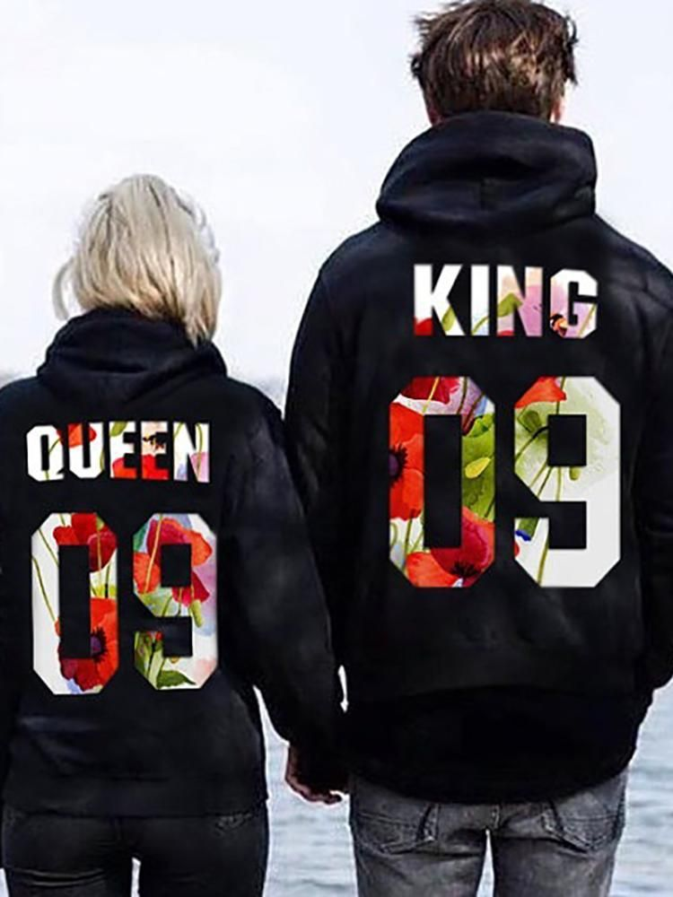 Fashion Couple Matching Hoodies King and Queen Print Jumper Pullover Sweatshirt