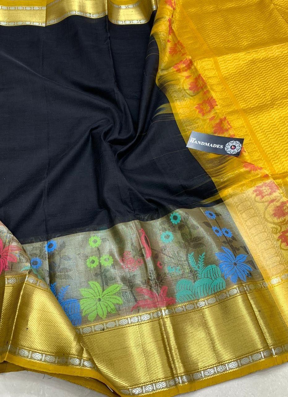 ce87993d4911e Latest Kuppadam Silk Sarees with Silver gold Jari Borders   Buttas    Contrast Rich Pallu   Contrast Plain Blouse   Rs. 6400+  Order whatsapp  8555892936